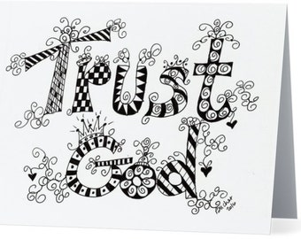 6 TRUST GOD doodle Blank Note Card Christian Greeting Cards   w/envelopes