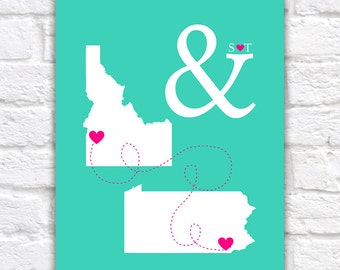 Personalized Wedding Maps -  Custom Art Print, Engagement Gift, Bridal Shower Gift, State Maps, Hearts, Ampersand, And Symbol, Love | WF343