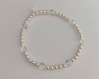 Sterling Silver and Swarovski Crystal Globe bead stretch stack bracelet