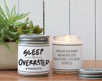 Sleep is Overrated Candle Gift - New Mom Gift | New Baby Gift | New Mom Inspiration | New Mommy Gift | Scented Candle| Personalized Candle