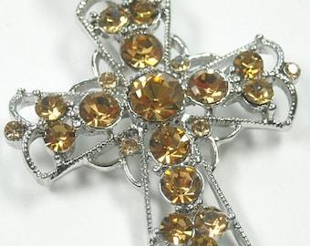 Cross Pendant, Clip On Cross Magnetic Pendant, Topaz Rhinestones, Interchangeable, Religious, Filigree Cross, Cross Jewelry, DIY Necklace