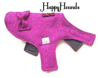 Genuine Harris Tweed Pink Medley Herringbone Weave Dog Coat/Harness with Harris Bow.