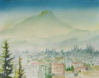 Watercolor art painting of Eugene Oregon from Skinner Butter, Spencer Butte in the background, print from a handmade original