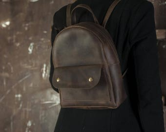 Brown leather backpack,Leather backpack purse,Leather rucksack,Leather backpack woman,Vintage backpack,Leather rucksack gift,Rucksack mini