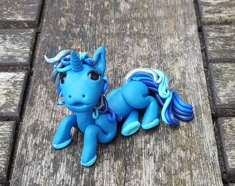 Blue unicorn pony, polymer clay sculpture.