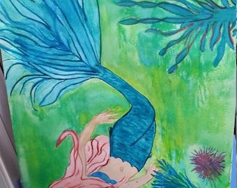 Watercolor Mermaid 9x12