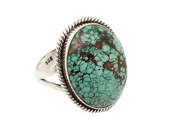 Blue Turquoise Ring, Tibetan Blue Copper Turquoise, Turquoise Silver Ring, Navajo Ring, Sterling Silver Turquoise Ring,Statement Ring,     2
