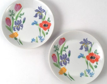 Floral Dishes with Orange and Lavender Flowers and Green Leaves, Round Small Plates, Vintage Set of Three - For Keys, Candy, Jewelry, Snacks