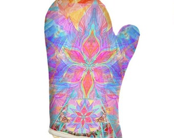 Creator designed oven glove-Oven Mitt, Quilted Oven Glove, Insulated Pot Holder-2 years guarantee-Handmade