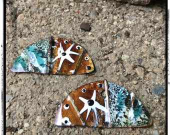 Brown and Blue Fold Formed Enameled Copper Charms