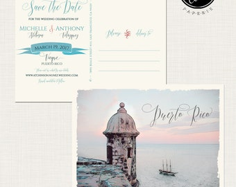 Puerto Rico Old San Juan save the date postcards with illustration -  Deposit Payment