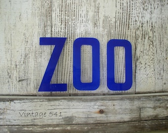 Vintage Sign Letters ZOO Blue Acrylic Plastic Letters