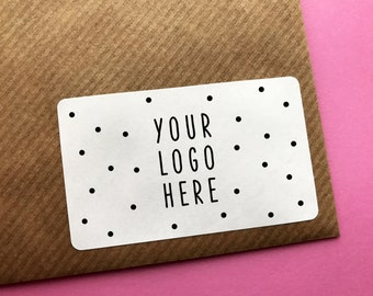 Custom Logo Stickers Rectangular, Rounded Matt Customisable Business Labels, Design, Birthday Gift Wrapping, Wedding Stickers, Packaging
