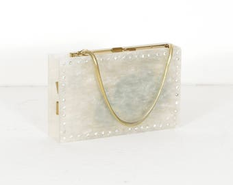 1950s Vintage White Marbled Lucite Rhinestone Trim CarryAll Vanity Compact Evening Bag