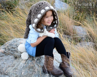 CROCHET PATTERN - Forest Fairy - chunky crochet hood pattern, pixie hood, long tail hood pattern (Child, Adult sizes) - Instant PDF Download
