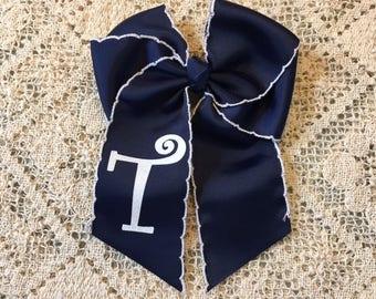Navy Monogram Bow
