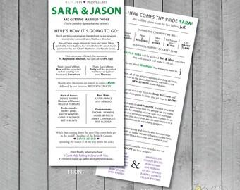 Customizable Double-Sided Fun Wedding program
