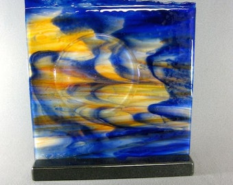 Art Glass Fused Abstract Sculpture Setting Sun Artist Signed