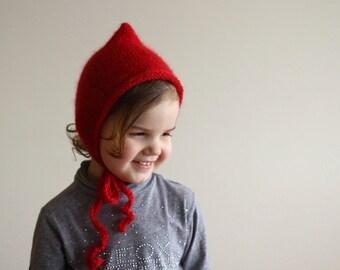 newborn pixie bonnet, baby bonnet, newborn bonnet, toddler bonnet, elf hat, newborn photo prop, photography prop, red bonnet, red pixie hat