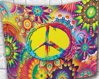 """NEW!!! 50"""" x 60"""" """"Peace Sign"""" Soft Anti-Peel Fleece Throw Blanket or Wall Tapestry with Gramats!"""