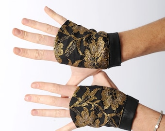 Golden lace gloves, Black and golden lace fingerless gauntlets, Party gloves, Womens accessories, Gift for her, MALAM