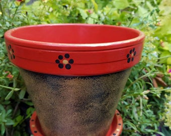 Painted Flower Pot - Red and Bronze - Rustic Look - Garden Decor - Boho Decor - Painted Planter - Poinsettia Planter