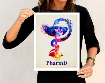 "PharmD print, ""Watercolor Cup and Snake - Bowl of Hygieia"", 11"" x 14"" print, symbol of pharmacy, Pharmacist gift, Pharmacy print, RX art"