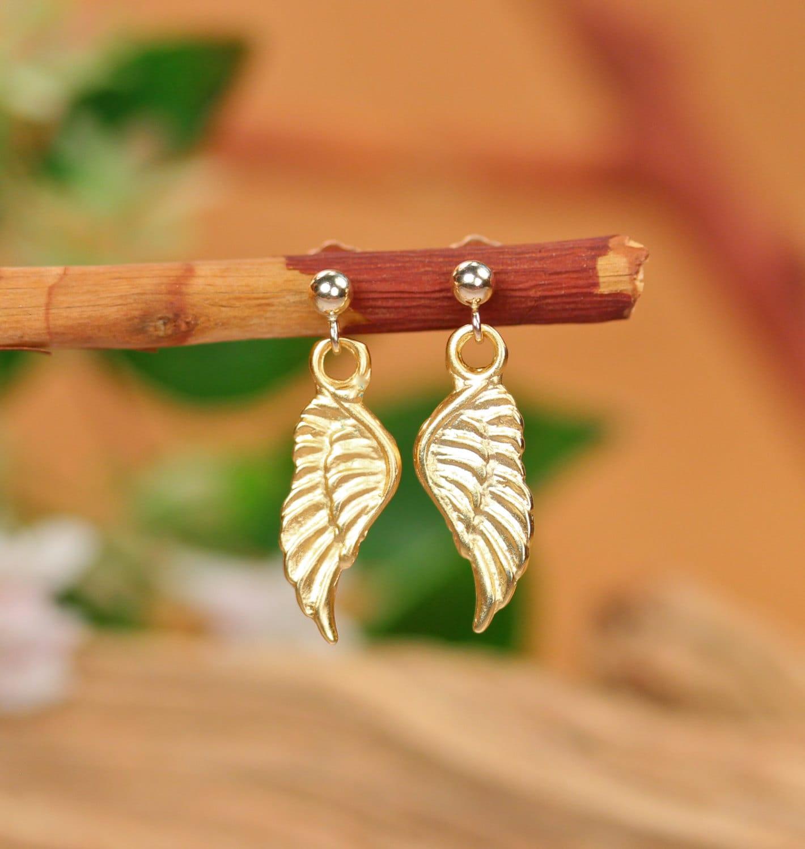 Gold wing earrings, angel wings, fairy wing earrings, cute gold ...