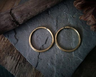 Brass Hoops for Tunnels / ear weights / tribal / dangle plugs / gauge jewelry / ear hangers / witchy earrings / unique bridal / small gauge