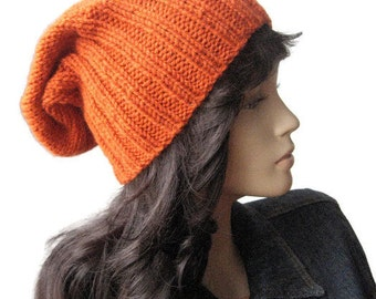 Winter Hat, Alex Hat,Hand Knit Hat,Terracotta Watchman Cap,Slouchy Hat,Vegan Knits, Orange Knitted Hat, Winter Fashion, Mens Hat, Womens Hat