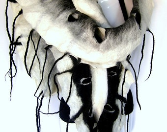 CUSTOM ORDER Felted Scarf, Ruffled Wavy, Holes Fringes Scarf, Black White, Merino Wool Felt Scarf