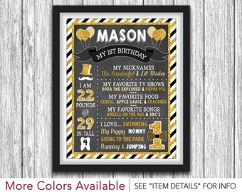 Mr. ONEderful Chalkboard Poster - Printable First Birthday Chalkboard Poster - Personalized Digital File - ANY AGE