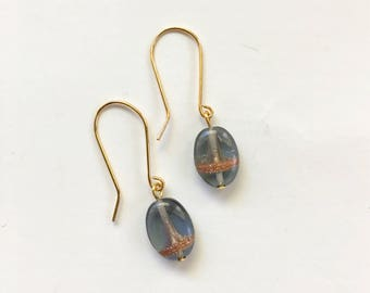 Montana Blue and Gold Drop Earrings, Small Earrings, Dangle Earrings, Vintage Earrings