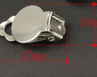 6 Pair/5 Pair Silver Tone Flat Pad Clip On Earrings