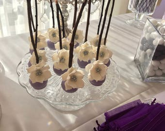 Cake pops with flower deco and real twig cake pops sticks