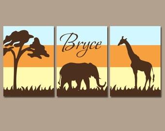 SAFARI Nursery Wall Art, Elephant Giraffe, Safari Nursery Decor, Canvas or Prints, Safari Animals Nursery, Set of 3, Gender Neutral Decor