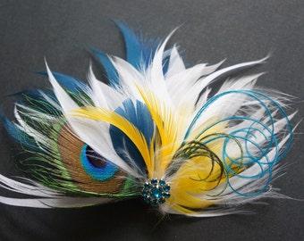 SHIP READY Peacock Feather Hair Clip Fascinator Sapphire Blue Golden Yellow White Bridal Bride Bridesmaid RAY Headpiece Teal Rhinestones