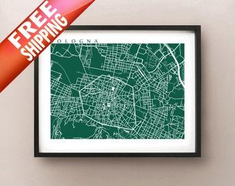 Bologna Map Art  Print - Italy Poster