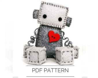 Felt Robot Plush Pattern PDF - Instant Download - DIY Stuffed Plushie - DIY Valentine Gift