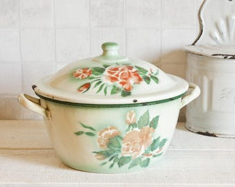 Very cute and rare Japy enamel french tureen - Vintage white, green and pink Enamelware tureen - Home Decor - Country style - Shabby chic