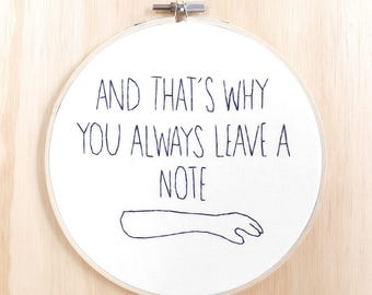 George Bluth life lesson embroidery, hoop art, Arrested Development, television