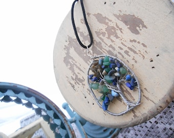 Blue and Green Tree of Life Pendant