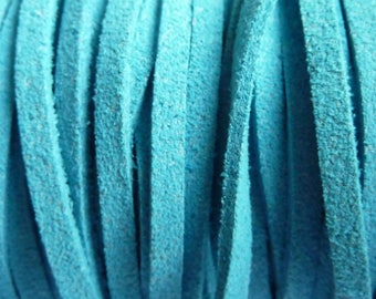 Set of 2 m blue 3 mm suede cord