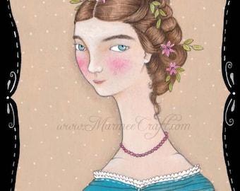 MarmeeCraft art print, 'Her Best Silk Frock'