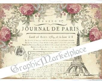Journal de Paris Shabby Chic Eiffel Tower French Download Transfer Linen digital sheet graphic printable image No. 725