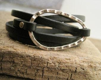 Leather Personalized Charm Wrap Bracelet - Item 2881