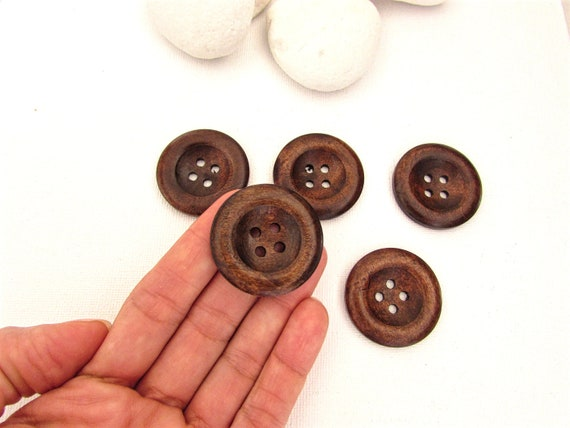 5 Large brown wooden buttons 35mm  Dark brown large sewing buttons  Large brown buttons  Vintage hipster style large buttons