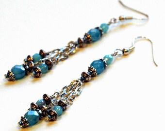 Ocean Blue Bead Long Chain Earrings, Pale Blue Czech Glass Bead Earrings with Silver Accents, Silver Chain Earrings, Fashion Jewelry