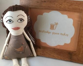 Handmade doll in pheasant dress