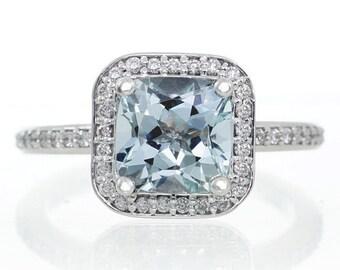 14K White Gold Cushion Cut Aquamarine Diamond Halo Engagement Ring